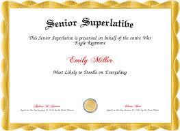 Superlative Certificate Senior Superlative Certificate Created With Certificatefun Com