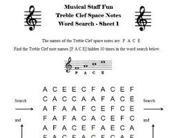 music notes in words 12 treble clef and bass clef note name word searches