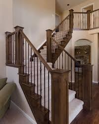 Stairs, Inspiring Stair Railings Indoor Indoor Stair Railing Kits Darkbrown  With Black Iron Stair Railings