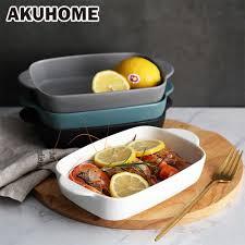 Phô Mai Nướng Đĩa Khay Nướng Gốm Món Ăn Phương Tây Lò Đĩa Nhiều Màu Nướng  Bát|plate baking|ceramic baking bowlceramic baking tray - AliExpress