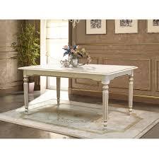 Landhausstil Essgruppe Weiß Ausziehbarer Tisch Mit 6 Stühlen