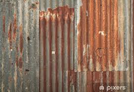 rusty corrugated metal wall texture background vinyl wall mural heavy industry
