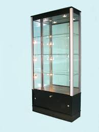 Black Mirrored Back Glass Display Cabinet For Shopsglass Cabinets Sale  Melbourne Door Perth