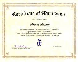 Certificate Of Admission To Winona State University S Special