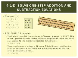 4 1 d solve one step addition and subtraction equations