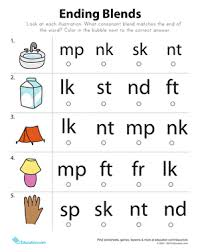 Part of a collection of kindergarten phonics worksheets from k5 learning. End Blends Worksheet Education Com