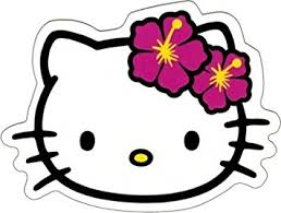 Hello Kitty - Face Shot with Hawaiian Hibiscus Flowers - Sticker / Decal