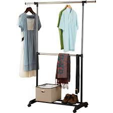 Rolling Coat Rack With Shelf Mainstays Adjustable 100 Tier Rolling Garment Rack Chrome And Black 78