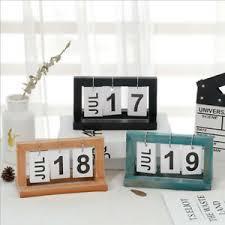 Details About 2pcs Flip Chart Perpetual Calendar Wooden Chic Office Calendar Month Date