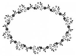フェミニンな花の白黒フレーム飾り枠イラスト 無料イラスト かわいい