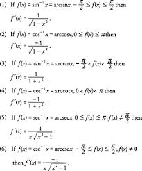 Differentiation Of Inverse Trigonometric Functions