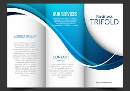 templates vector art 7589 s template design of blue wave trifold brochure