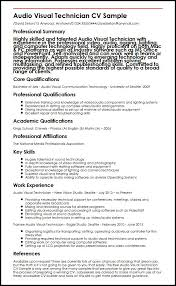 Audio Visual Technician CV Sample