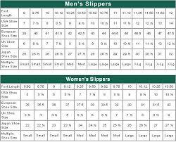 Crochet Bootie Size Chart Womens Slipper Size Chart