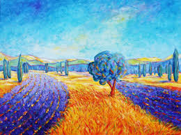 cristina stefan lavender field provence painting acrylic on canvas
