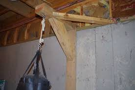 hanging 70 lb heavybag punching bag from ceiling joists in basement