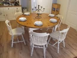 Large Farmhouse Kitchen Table Vintage Large Round Farmhouse Table And 6 Oak Chairs Sold