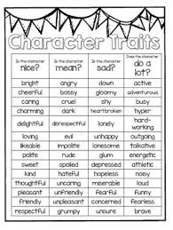 Actual Character Traits Chart Character Traits Chart With
