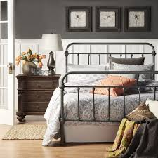 Grey Gray Metal Bed Frame Bedroom Furniture Vintage Rustic Antique ...