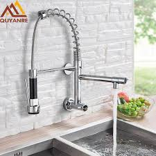 2019 wall mounted spring kitchen faucet pull down sprayer dual spout single handle mixer tap sink faucet 360 rotation kitchen faucets from gonglangno1