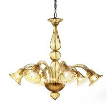 modern murano glass chandelier with amber color glass