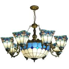 baroque style tiffany stained glass inverted chandelier with blue white checd center bowl shade