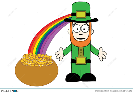 leprechaun with pot of gold at end of rainbow illustration    leprechaun   pot of gold at end of rainbow