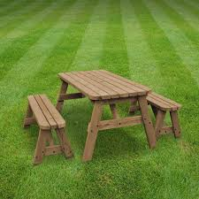 rutland oakham 7ft rustic brown rounded picnic table and bench set