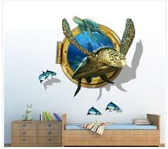 sea turtle 3d wall stickers vinyl animal wall art for kindergarten kids rooms removable home decor sticker decal for wall decal for walls from jy9146