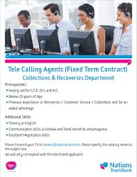 Calling For A Job Tele Calling Agents Collections Department At Nations Trust