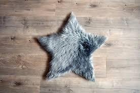 kroma carpets faux sheepskin star grey rug small