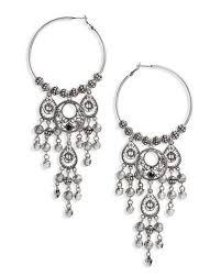 top metallic hoop chandelier earrings lyst