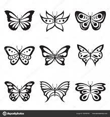 černé Zvíře Hmyzu Motýl Tetování A Siluety Vektorové Ikony Stock