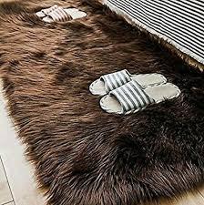 buffalo hide faux fur brown grizzly bear skin rectangle area rug 2 x5