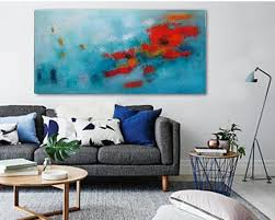 turquoise wall art teal red abstract