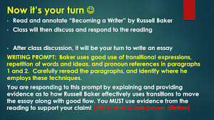 models for writers chapter ppt video online  now it s your turn  and annotate becoming a writer by russell baker class