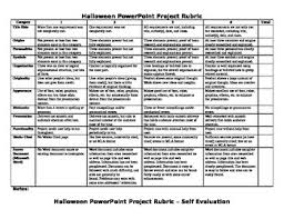 Halloween Research Powerpoint Project Rubric And Self Evaluation