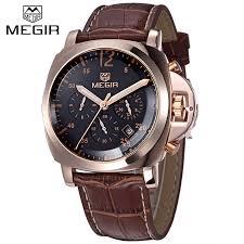 megir men casual watch genuine leather luxury men watches quartz megir men casual watch genuine leather luxury men watches quartz wristwatch chronograph 24 hours function sport watch relogio