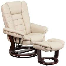 beige furniture. Contemporary Beige Leather Recliner And Ottoman With Swiveling Mahogany Wood Base Furniture