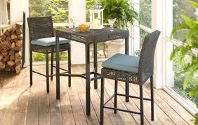 Buy 1 hampton bay fenton 3 piece wicker outdoor patio high bar bistro set with peacock java cushion reg 599 00 399 00 sale price through 4 16
