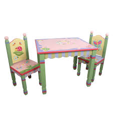 com fantasy fields magic garden thematic hand crafted kids wooden table and 2 chairs set imagination inspiring hand crafted hand painted details
