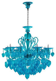 bella vetro modern glamour 8 light aqua blown glass turquoise crystal chandelier