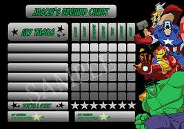 Avengers Superhero Personalised Reward Chart Behaviour Chore Kids Activity Ebay