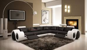 Black Leather Sectional Sofa With Recliner Amazoncom 4087 Black White Bonded Leather Sectional Sofa With
