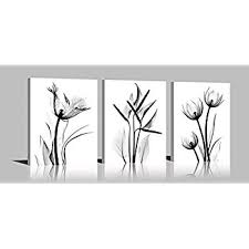 ypy oil painting elegant flowers 3 panels black and white color tulip print on canvas wall on black and white tulip wall art with amazon ypy oil painting elegant flowers 3 panels black and