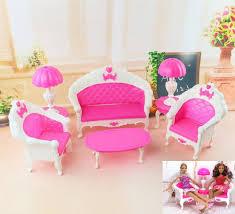 Nk 6 ItemsDoll Accessories Plastic Furniture Sofa Couch Desk Lamp