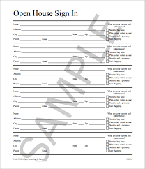 open house sign in sheet template