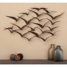 brown iron flying birds wall decor