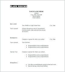 Free Printable Resume Template Blank Simple Free Printable Resume Template Blank Examples Intended For Templates