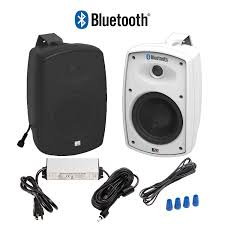 com osd audio 5 25 bluetooth outdoor patio speaker wireless pair black btp 525blk home audio theater